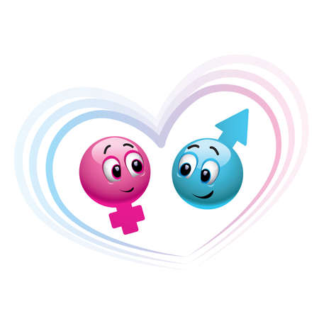 male and female smiley balls Illustration