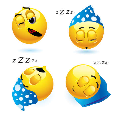 tired cartoon: Sleeping smiley balls in different position