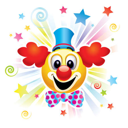 Smiley ball as clown in the circus Vector