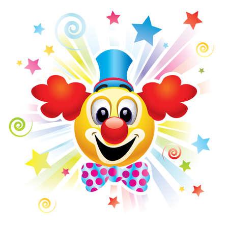 clowngesicht: Smiley-Kugel als Clown in der Zirkus