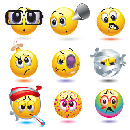 malady: Smiley balls with different diseases