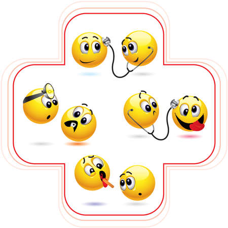 resfriado comun: Bola de Smiley tratar otra bola de smiley Vectores