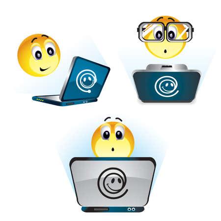 Smiley boules travaillant sur leur ordinateur. Vecteurs