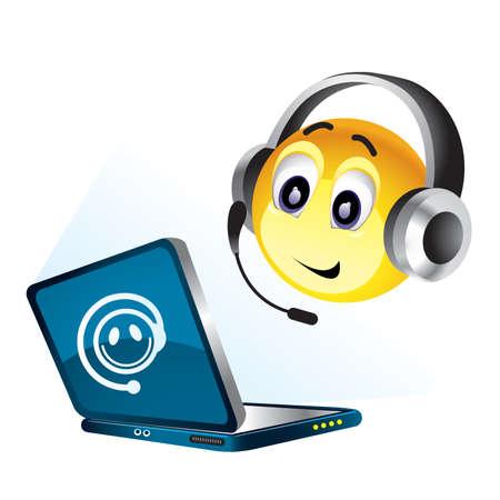 headset business: Smiley palla, lavorando sul proprio computer Vettoriali