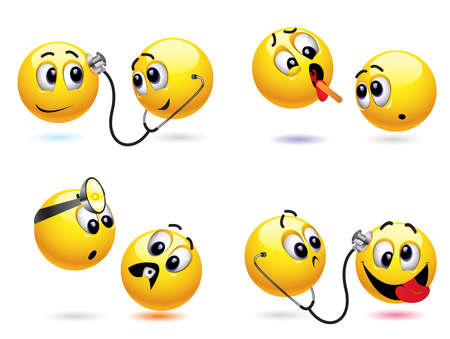 Smiley ball treating another smiley ball Stock Vector - 5781481