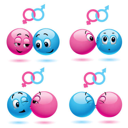 Smiley balls like male and female Stock Vector - 5781482