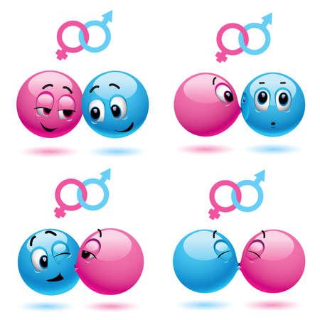 Smiley balls like male and female Çizim