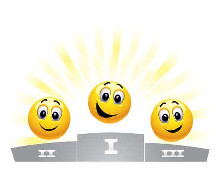 Drei Smiley-Kugeln in die Gewinner-podium Vektorgrafik