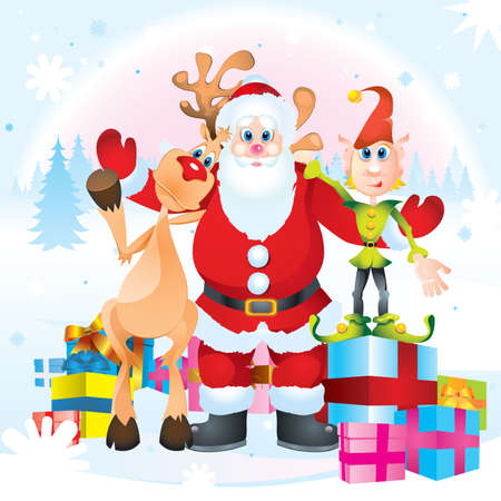 Santa Clause, Rudolph and Elf Vector