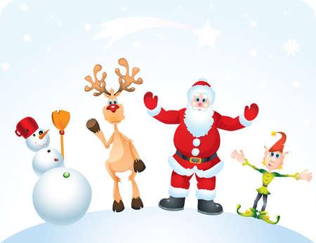 Santa Clause, Rudolph,Elf and Snowman