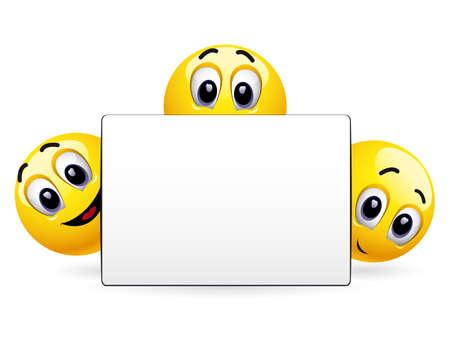coup de pouce: Boules souriants tenant annoncer