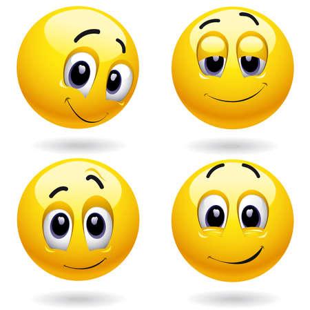 gesichter: Selbstzufriedenheit Smiley-B�lle posing  Illustration