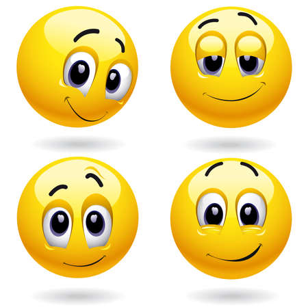 round face: Self-satisfied smiley balls posing Illustration