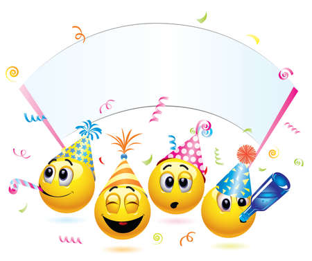 laugh emoticon: Smiley balls going to a party Illustration