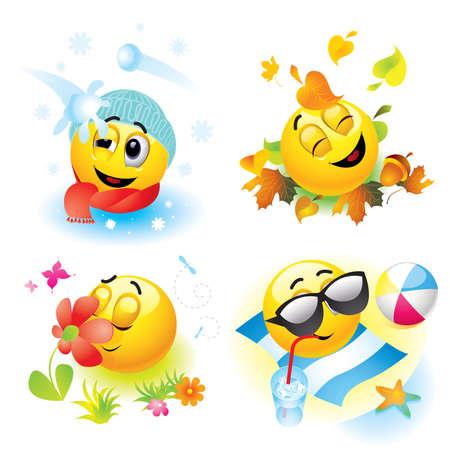 Bolas de Smiley en temporada diferente  Ilustración de vector