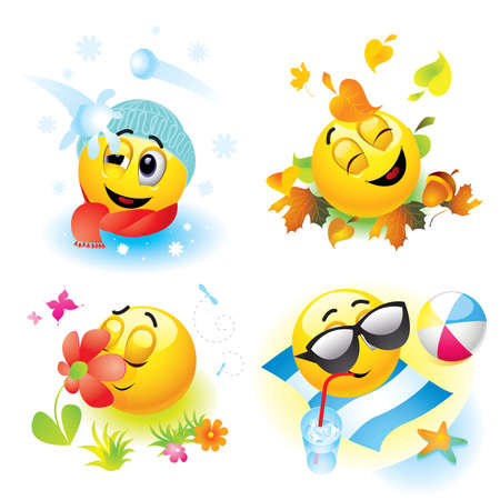 Smiley balls in different season Vector