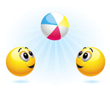 Smiley balls playing with ball Vector