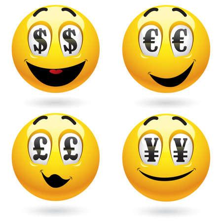 ganancias: Bolas sonrientes mirando de dinero