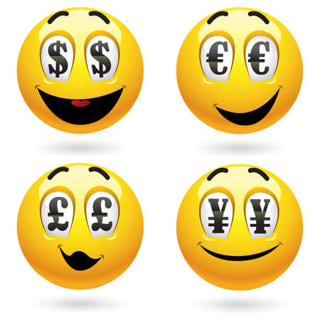 Smiley balls looking at money Stock Vector - 6004466