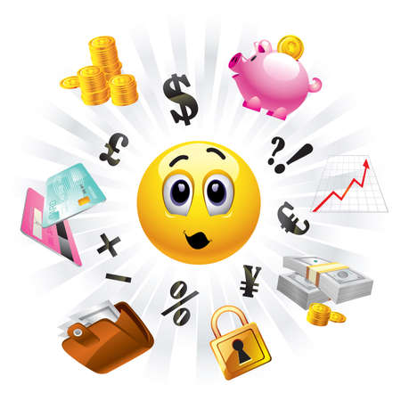 stock clipart icons: Smiley balls looking to the money