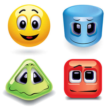 Sonriendo bolas como diferentes formas geométricas