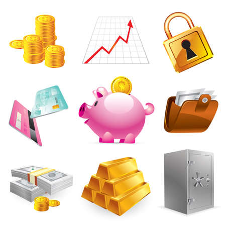 Bank, finances and stock-market icons Stock Vector - 6276516