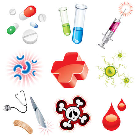 influenza: Set of icons which contains medical items  Illustration