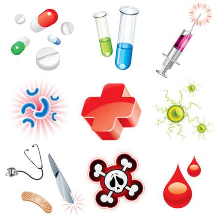 Zestaw ikon, które zawiera elementy medyczne  Ilustracje wektorowe