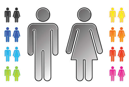 man and women wc sign: men and womens pictograms