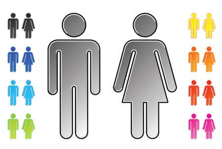 simbolo hombre mujer: pictogramas de hombres y mujeres  Vectores
