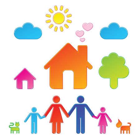 Pictogrammes qui représentent la famille et de leurs environs  Illustration