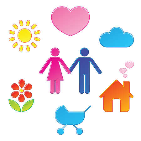 Pictograms which represent young couple Stock Vector - 6276513
