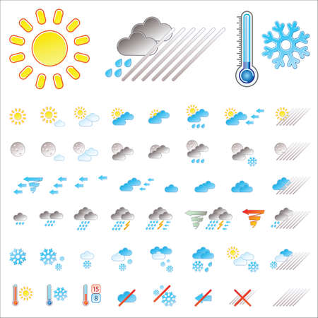 Pictograms which represent weather conditions Stock Vector - 6276536