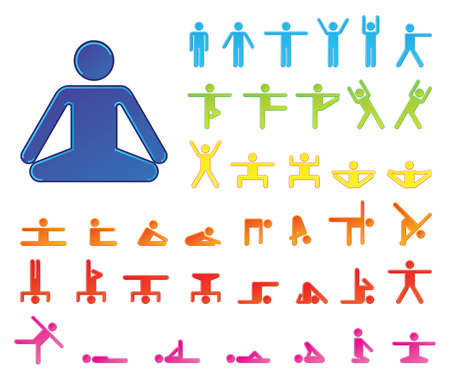 Pictograms which represent yoga exercise Çizim
