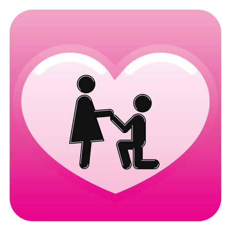Pictograms which represent young couple in love Stock Vector - 6276511