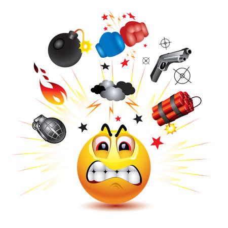 n�vrose: Smiley balle avec des symboles de la lutte et la col�re