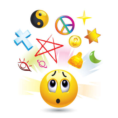 Smiley ball with symbols of  religion Vector