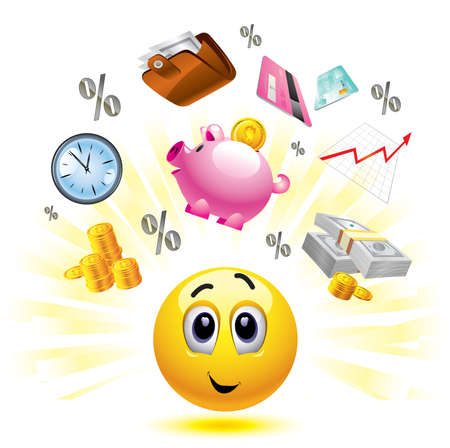 capitalismo: Smiley ball with different symbols of money and earnings