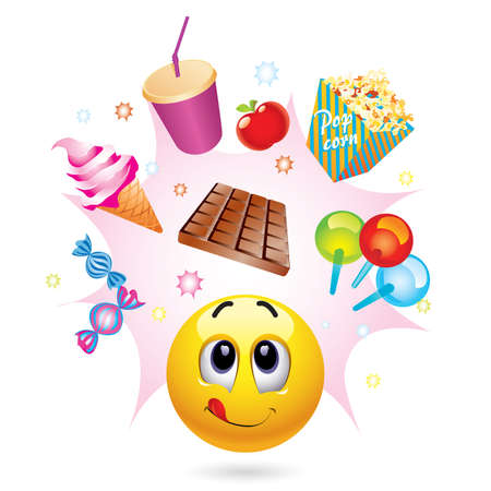 Smiley ball with different symbols of sweets Stock Vector - 6444427