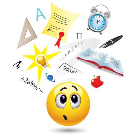 Bola de Smiley con diferentes símbolos que representan a la escuela y el aprendizaje