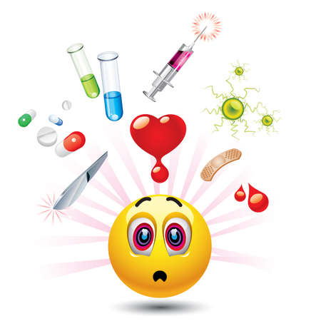 Smiley ball with different symbols of medicine Çizim