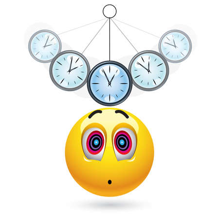 Smiley ball being hypnotized with clock Stock Vector - 6444429
