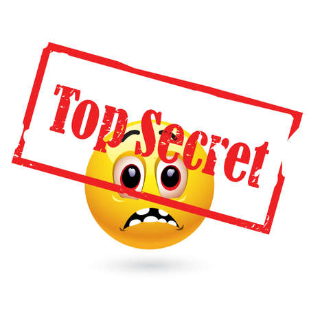 Smiley ball looking at top secret file Stock Vector - 6472144
