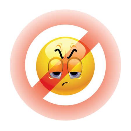 delito: Bola de Smiley enojado ser prohibido Vectores