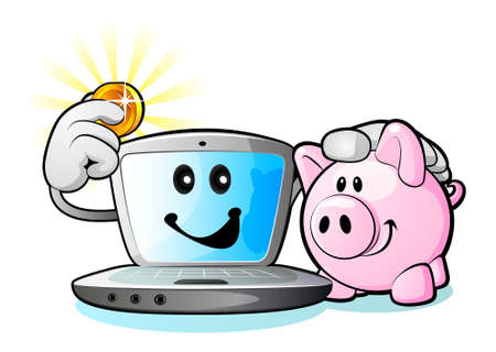 powerbook: Laptop computer and Piggy Bank Illustration