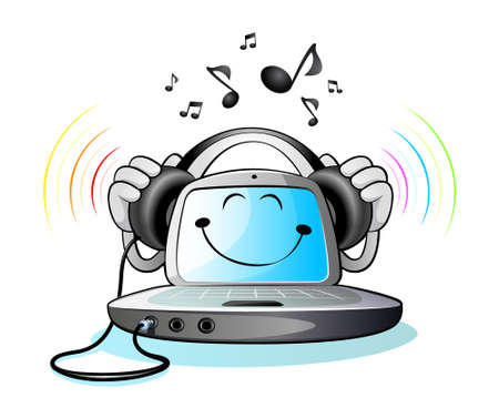 Laptop computer and Music Stock Vector - 8385202
