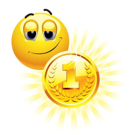 Smiley Ball mit Goldmedaille Vektorgrafik