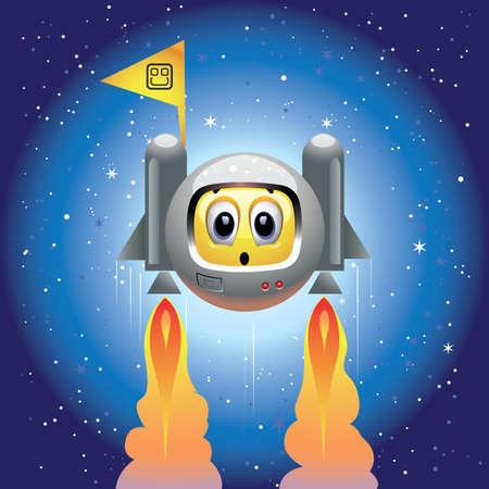 adrenaline: Smiley bal als astronaut Stock Illustratie