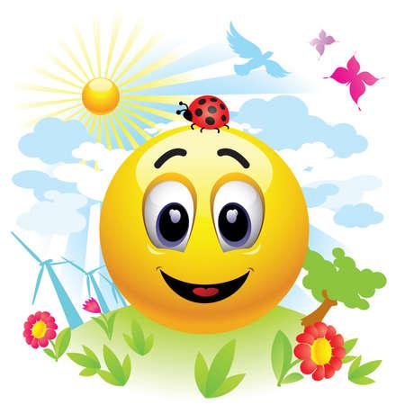 sol caricatura: Bola de Smiley enviar mensaje acerca de la contaminaci�n