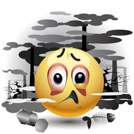 Smiley palla invio del messaggio per l'inquinamento Vettoriali